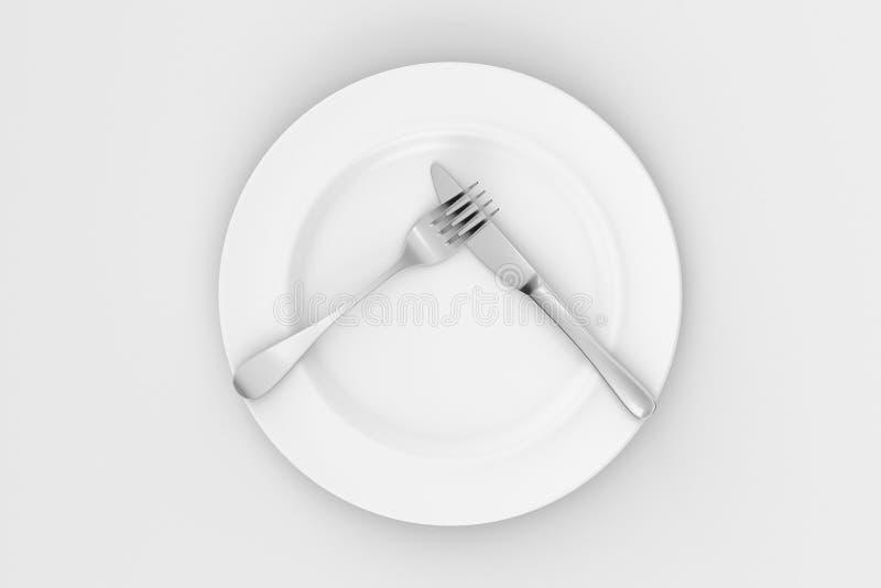 Placa de comensal, faca, e forquilha imagem de stock royalty free