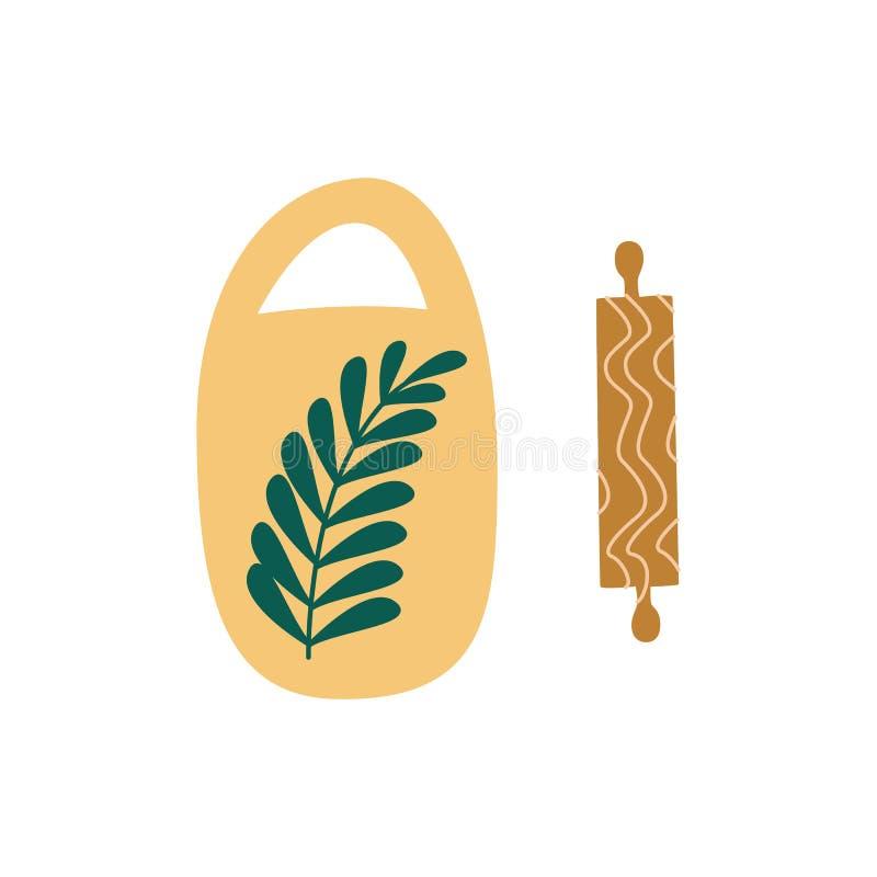 Placa de corte cerâmica e estilo liso de madeira dos desenhos animados do pino do rolo ilustração royalty free