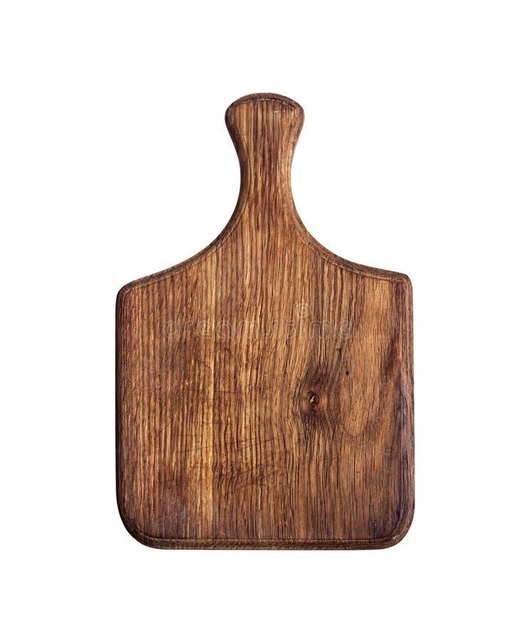 Placa de corte de madeira isolada no fundo branco com trajeto de grampeamento imagens de stock