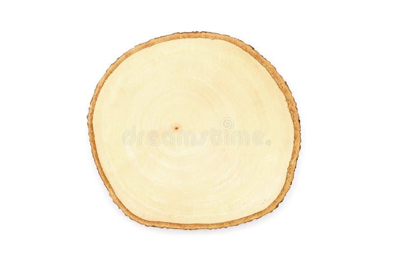 Placa de corte de madeira vazia, isolada no fundo branco foto de stock