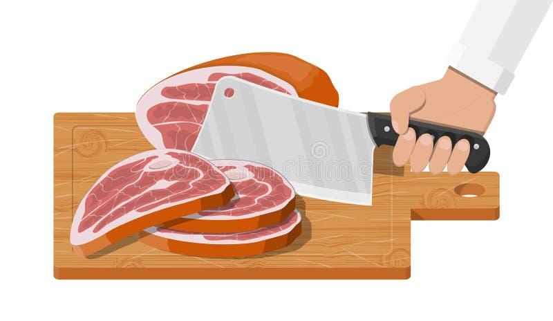 Placa de corte, talhador do carniceiro e piace da carne ilustração stock