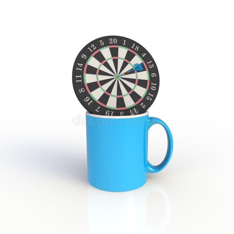 Placa de dardo com o copo de café azul isolado no fundo branco Zombaria acima do molde para o projeto da aplicação ilustração do vetor