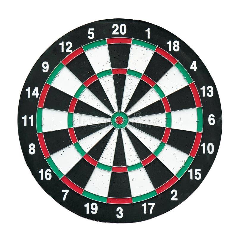 Placa de dardo vermelha e verde isolado no conceito branco do negócio do jogo da seta do fundo imagem de stock royalty free