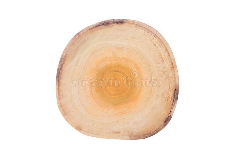 Placa de desbastamento redonda de madeira no fundo branco com c fotos de stock royalty free
