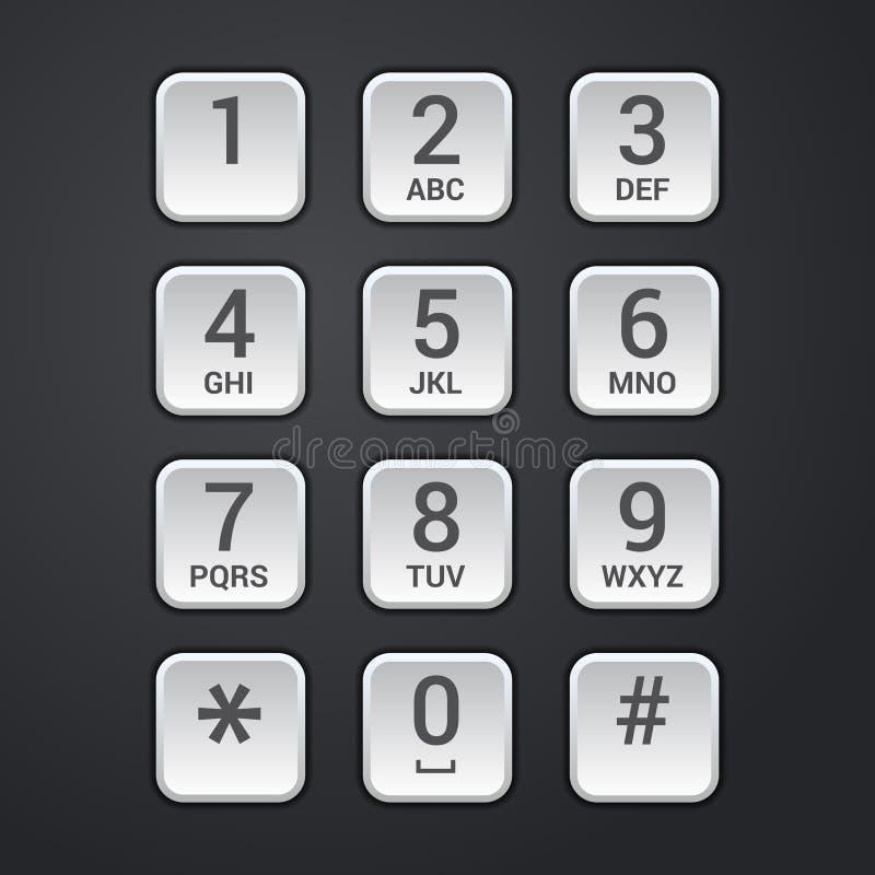 Placa de dial de Digitaces del vector del telclado numérico de la cerradura o del teléfono de la seguridad stock de ilustración