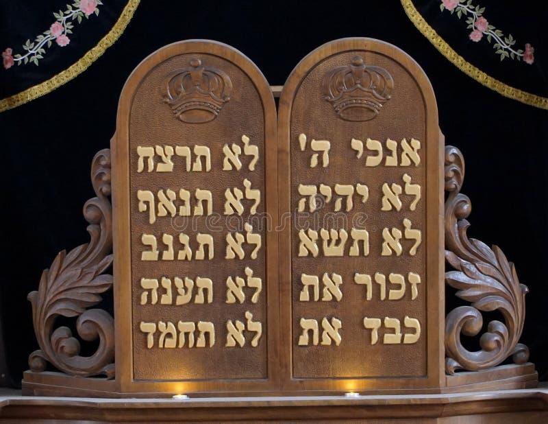 Placa de diez mandamientos foto de archivo