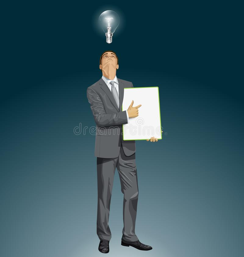 Placa de With Empty Write do homem de negócios do vetor ilustração stock