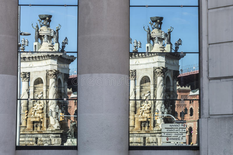 Placa de Espana in Barcelona, Spain. Double Reflection the monument of the Placa de Espana stock photos