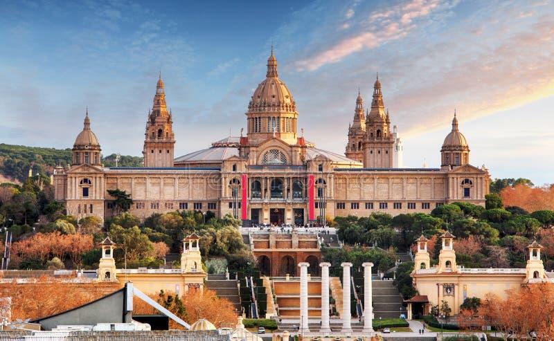 Placa de Espania - nationellt museum, Barcelona, MNAC arkivbild