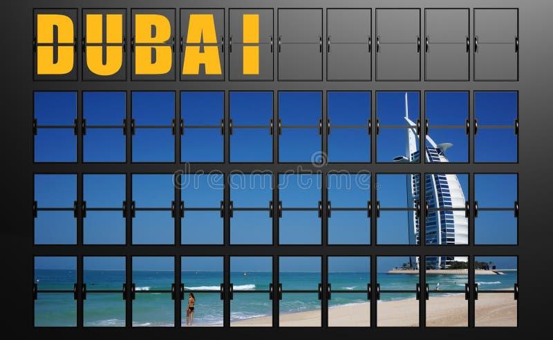 Placa de exposição do aeroporto de Dubai ilustração royalty free