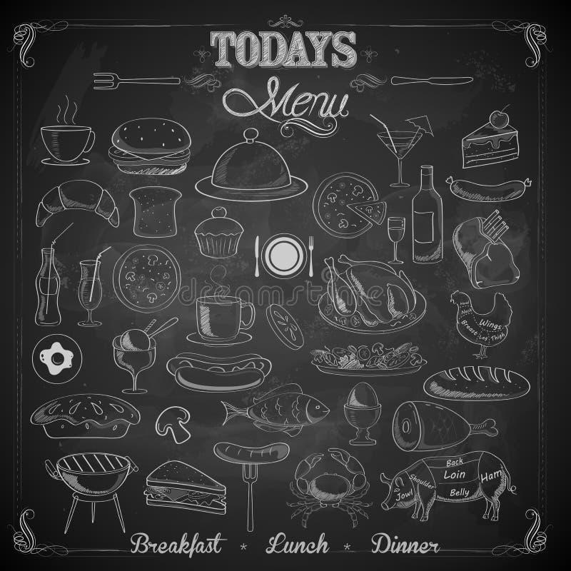 Placa de giz do menu ilustração do vetor