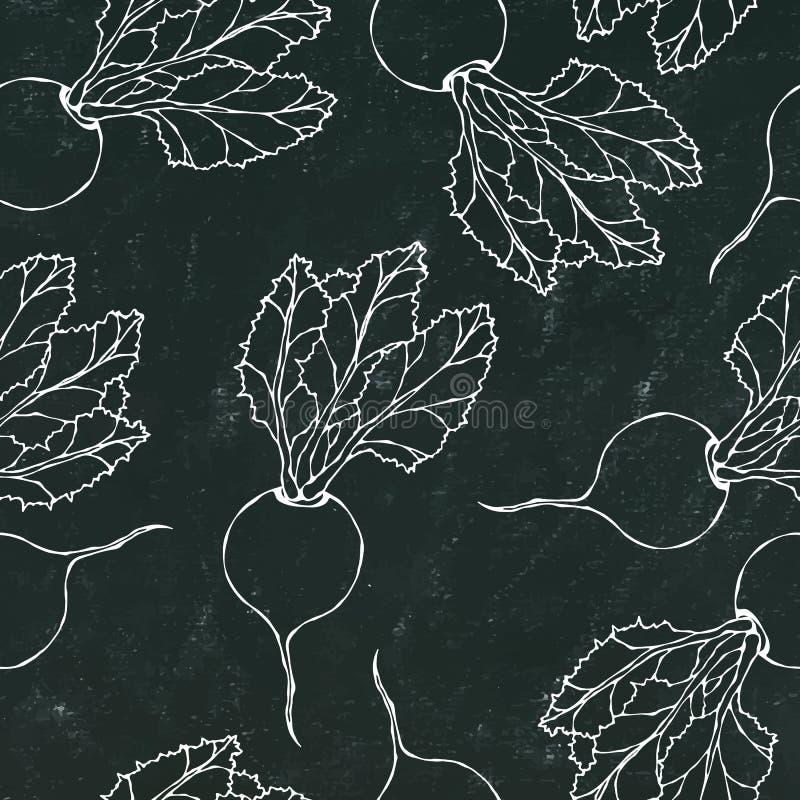 Placa de giz preta Fundo sem emenda de beterrabas maduras Teste padrão infinito das beterrabas com folhas superiores Salada do le ilustração stock