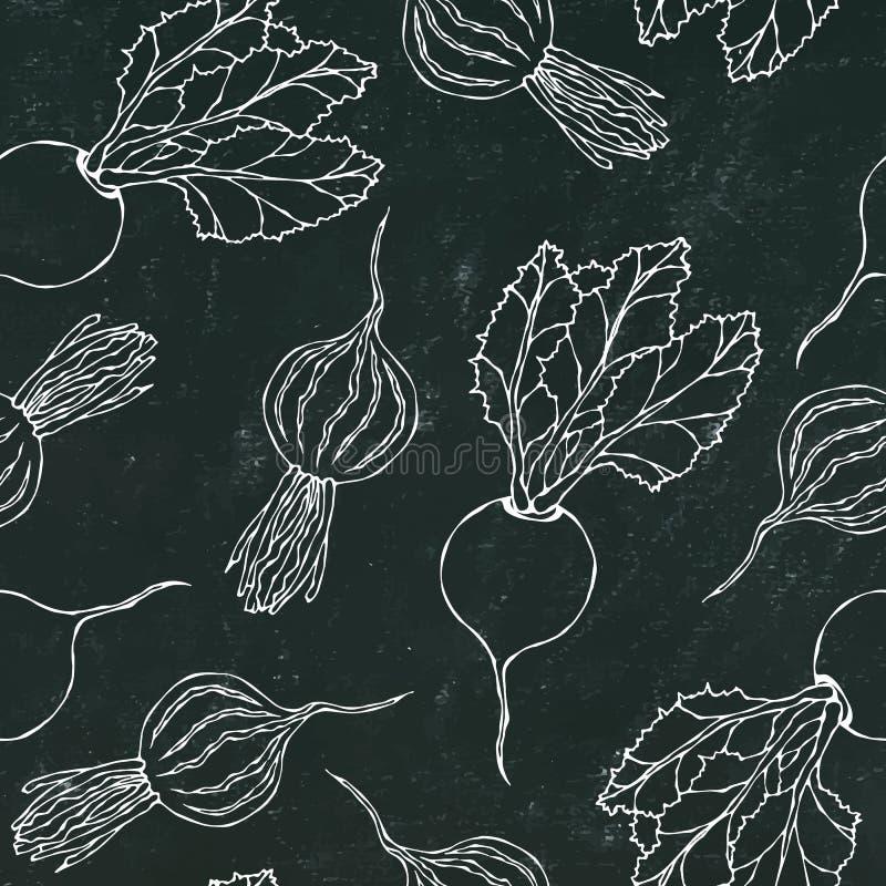 Placa de giz preta Fundo sem emenda de beterrabas maduras Teste padrão infinito das beterrabas com metades das folhas e da beterr ilustração royalty free