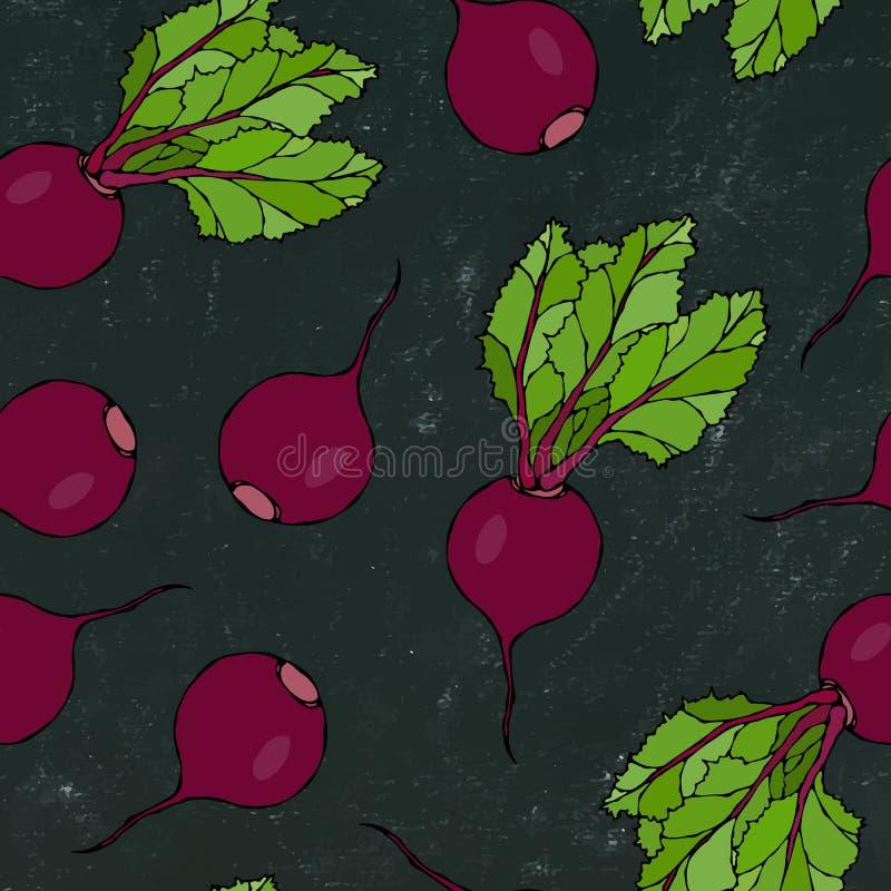 Placa de giz preta Fundo sem emenda de beterrabas maduras Teste padrão infinito das beterrabas com metades das folhas e da beterr ilustração stock
