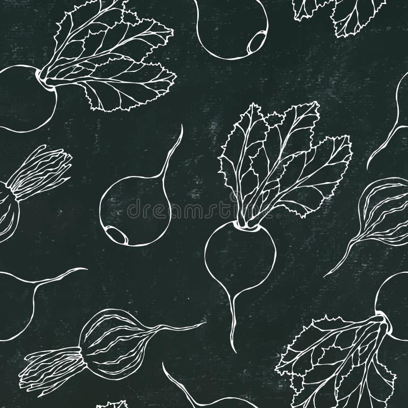 Placa de giz preta Fundo sem emenda de beterrabas maduras Teste padrão infinito das beterrabas com metades das folhas e da beterr ilustração do vetor