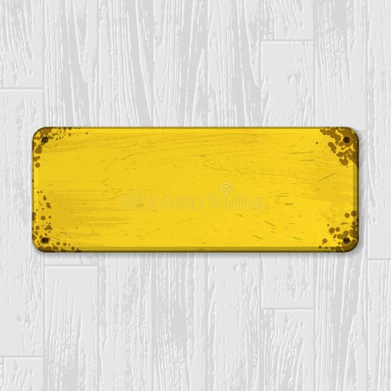 Placa de identificação amarela na madeira ilustração stock