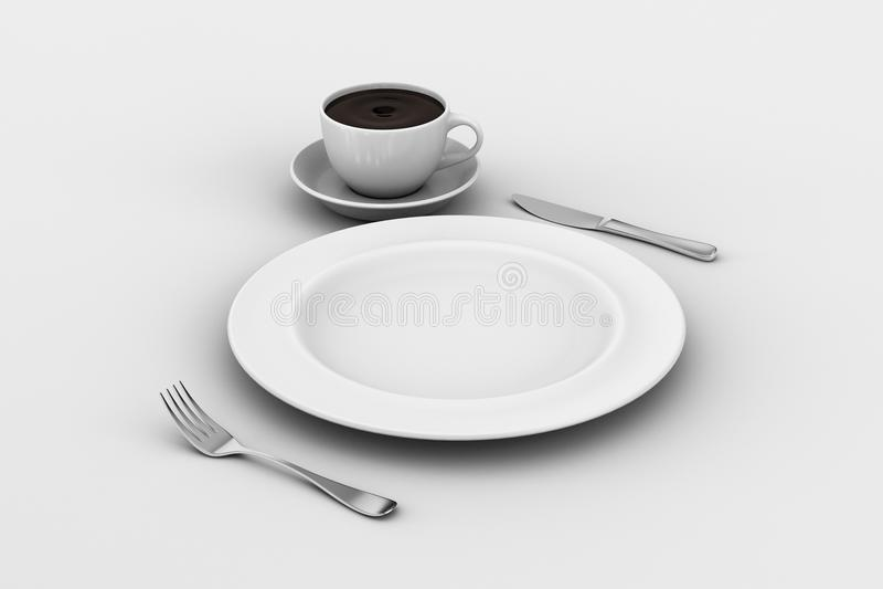 Placa de jantar, faca, e forquilha, copo de café fotografia de stock