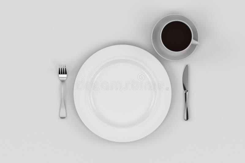 Placa de jantar, faca, e forquilha, copo de café fotografia de stock royalty free