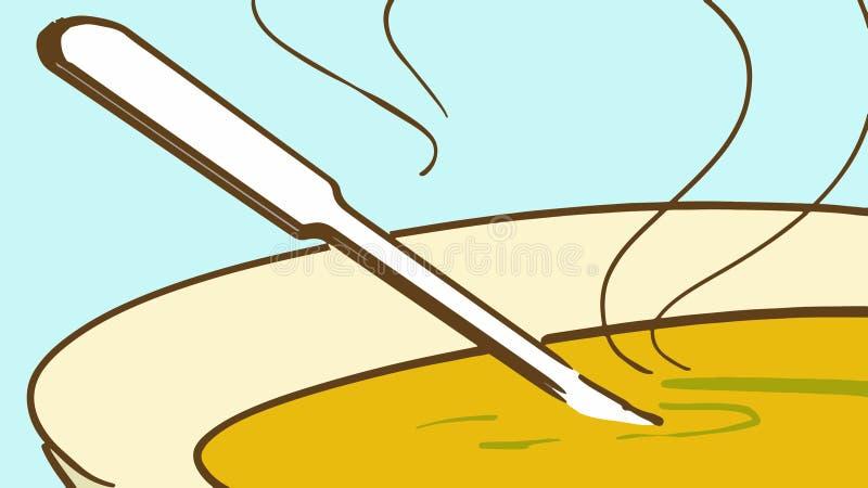 Placa de la historieta de la sopa caliente y de una cuchara stock de ilustración
