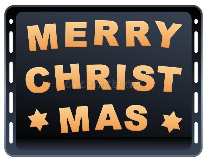 Placa de la hornada de la Feliz Navidad de las galletas ilustración del vector