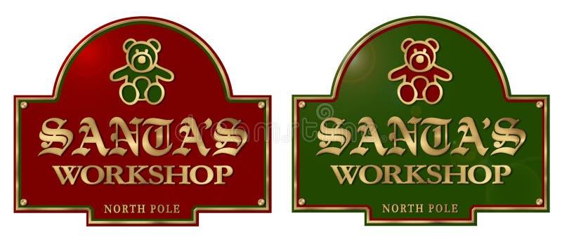 Placa de la muestra del taller de Papá Noel stock de ilustración