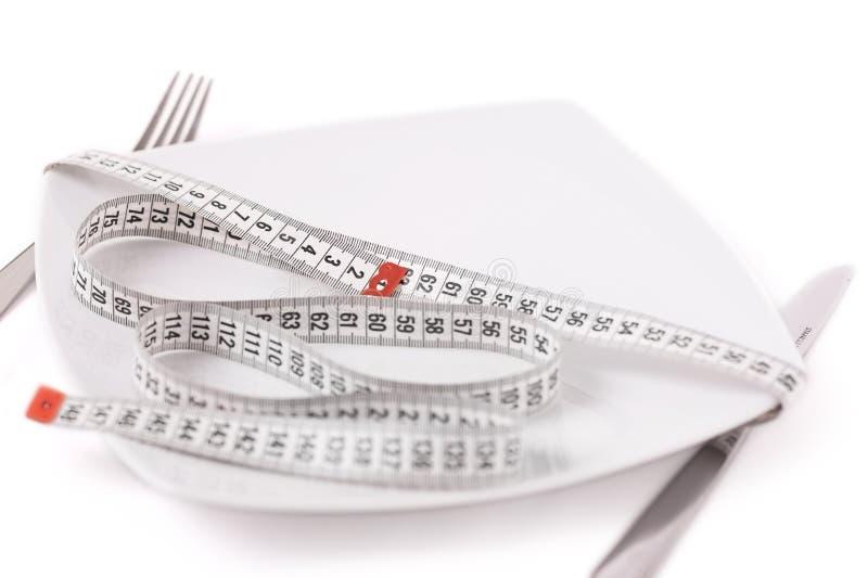Placa de la porción de la comida del centímetro fotografía de archivo