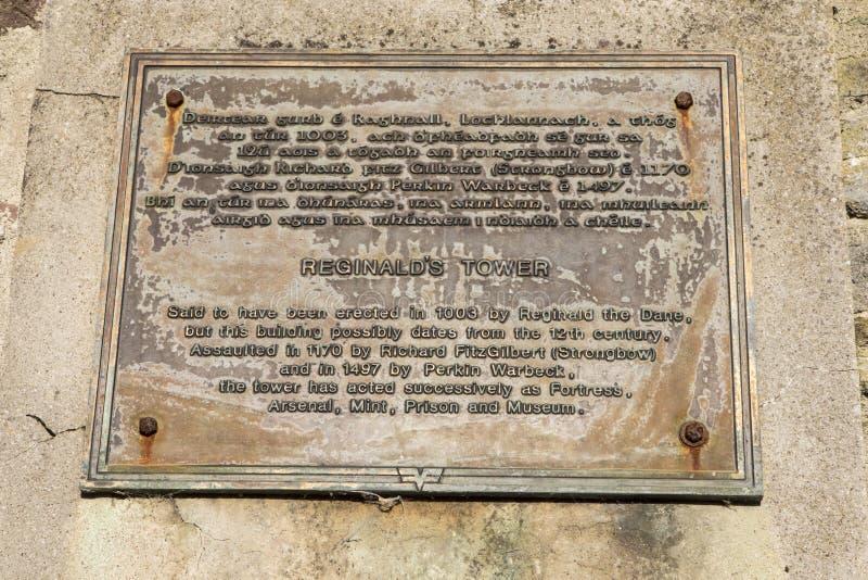 Placa de la torre de Reginalds en Waterford foto de archivo libre de regalías