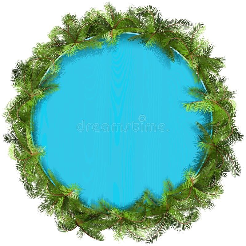 Placa de madeira azul do vetor com palmeira ilustração stock