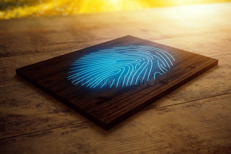 Placa de madeira com impressão digital azul ilustração do vetor