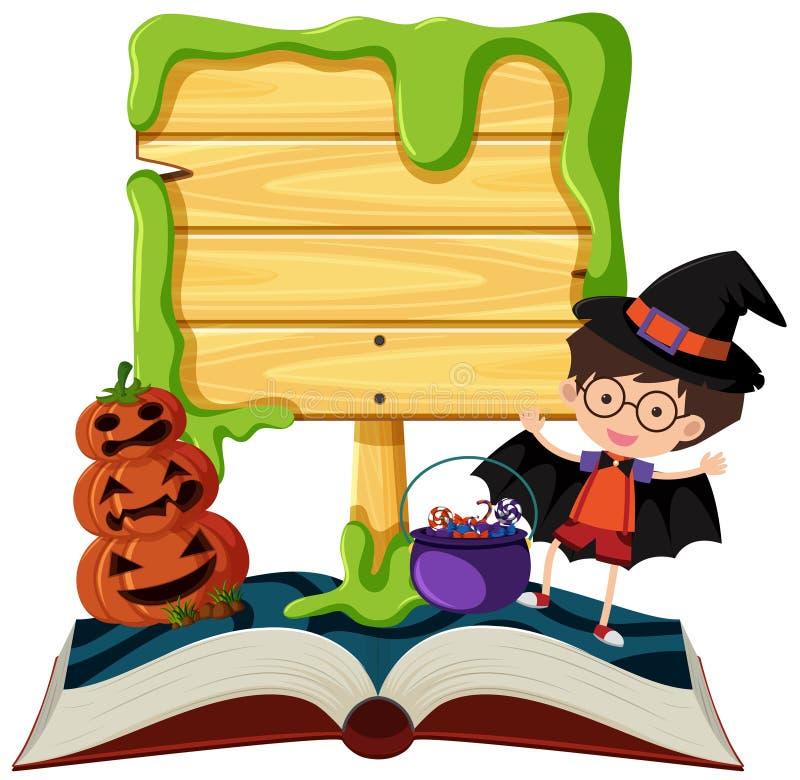 Placa de madeira com o menino no traje ilustração do vetor