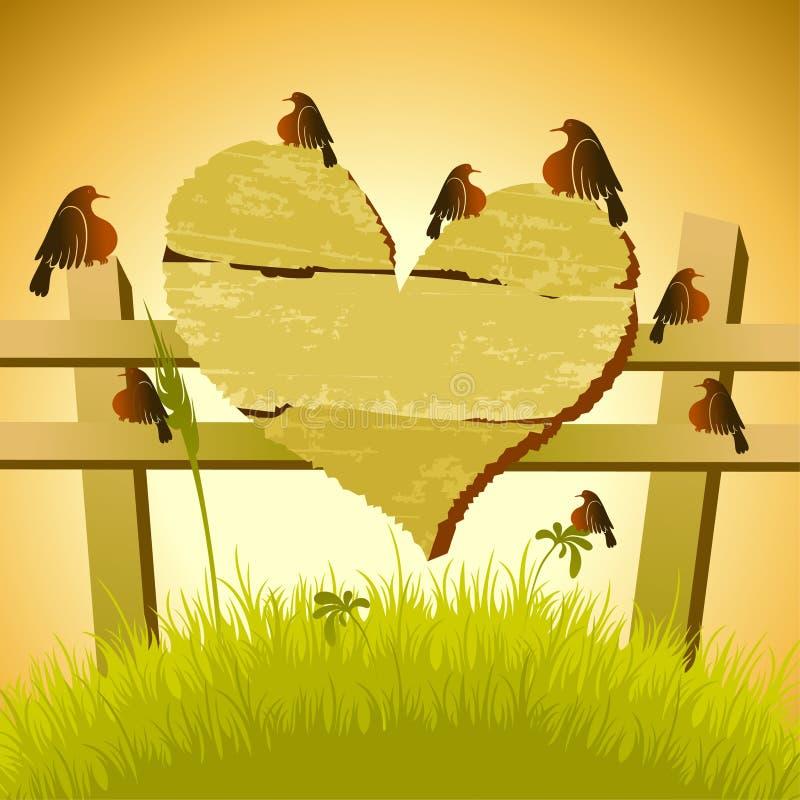 Placa de madeira com pássaros ilustração royalty free