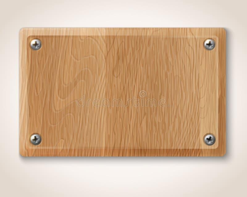 Placa de madeira com parafusos ilustra o do vetor - Placa de madera ...