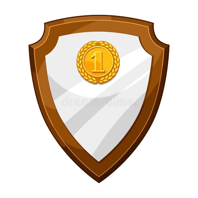 Placa de madeira da concessão da chapa com medalha de ouro Ilustração do protetor para esportes ou competições incorporadas ilustração stock