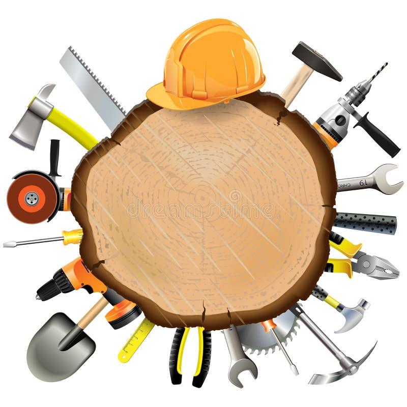 Placa de madeira da construção do vetor com ferramentas ilustração do vetor