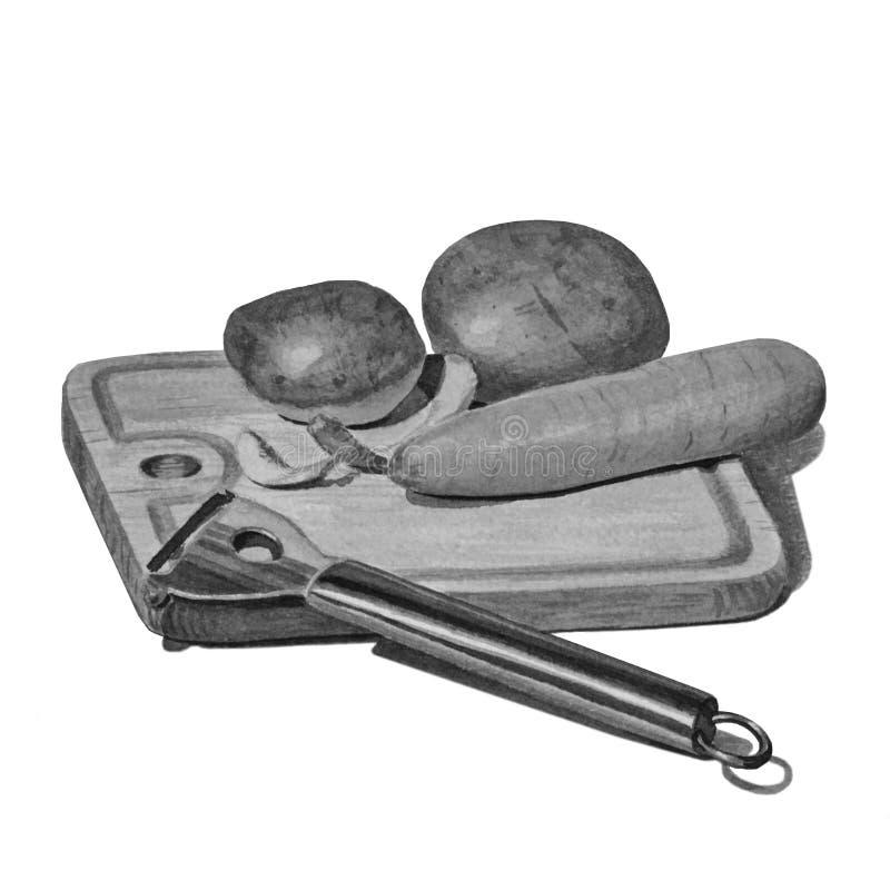 Placa de madeira da cozinha isolada no branco Batatas desenhados à mão e cenouras, uma faca para vegetais de limpeza ilustração stock