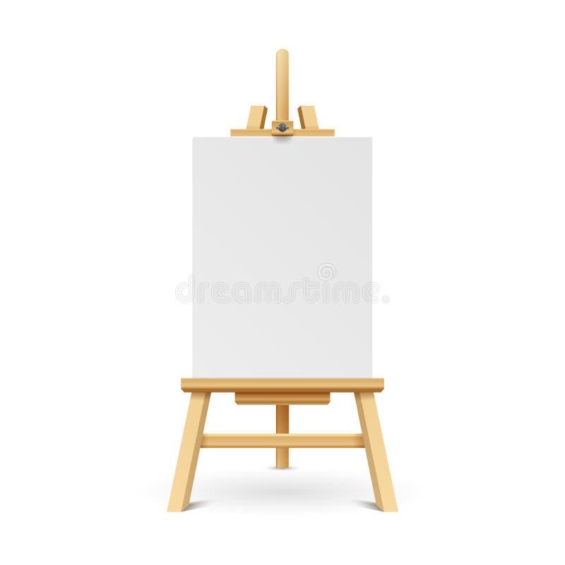 Placa de madeira da pintura com quadro de papel vazio branco ilustração royalty free