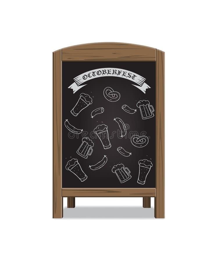 A placa de madeira do anúncio do menu com fest de outubro assina Ilustração do vetor ilustração stock