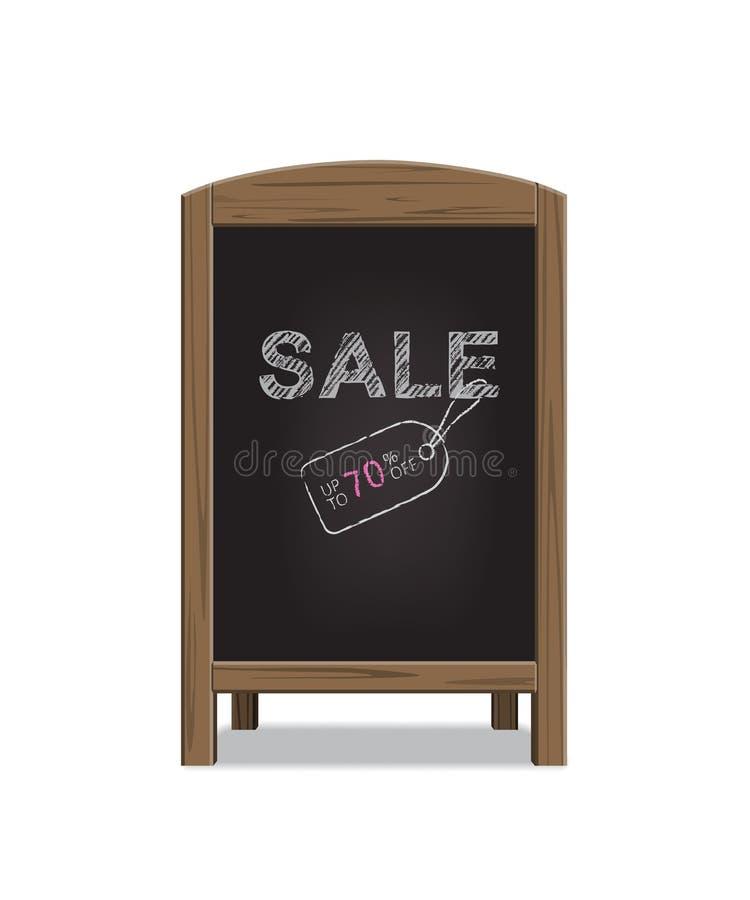 Placa de madeira do anúncio do menu com texto da venda Ilustração do vetor ilustração stock