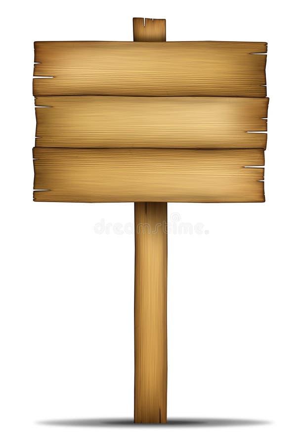 Placa de madeira do sinal com pólo ilustração stock