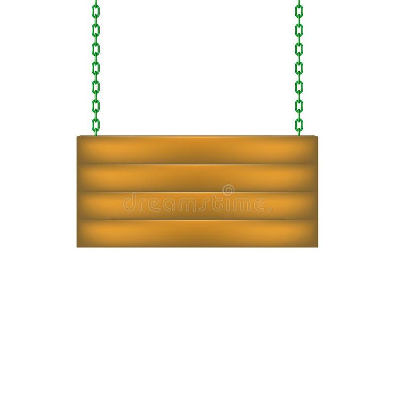 Placa de madeira do sinal que pendura na corrente ilustração do vetor