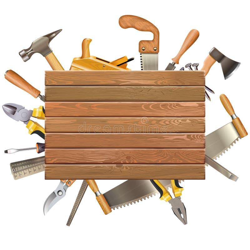 Placa de madeira do vetor com ferramentas da mão ilustração do vetor