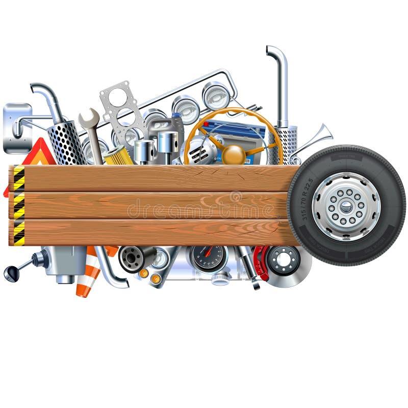 Placa de madeira do vetor com sobressalentes do caminhão ilustração royalty free