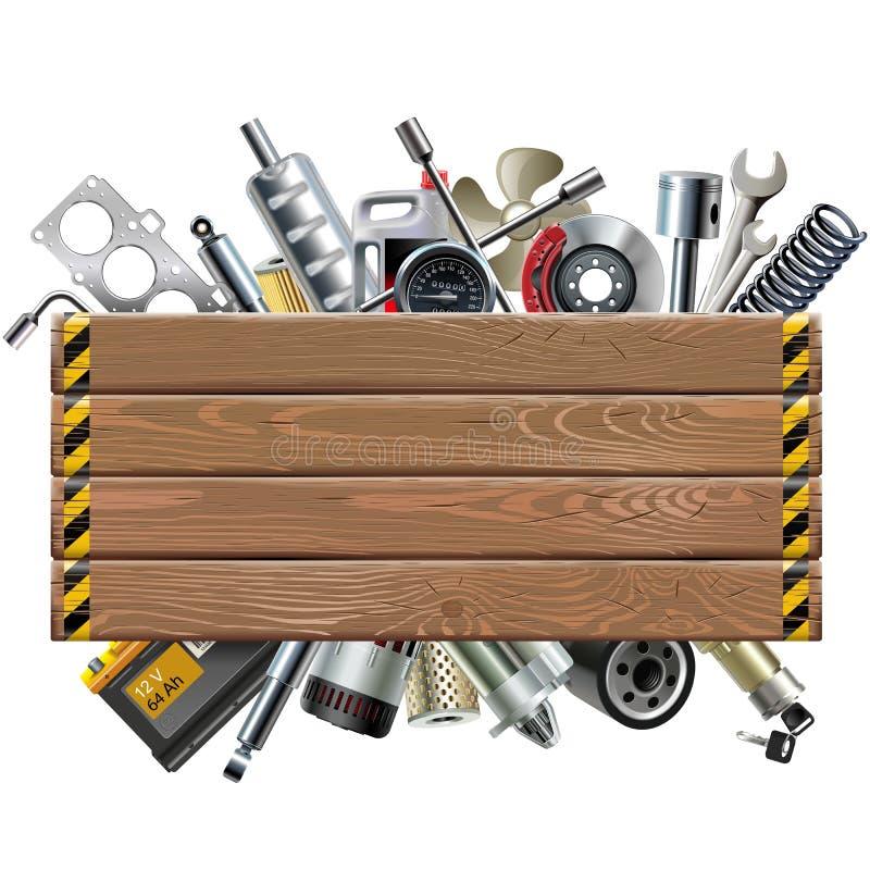 Placa de madeira do vetor com sobressalentes do carro ilustração stock