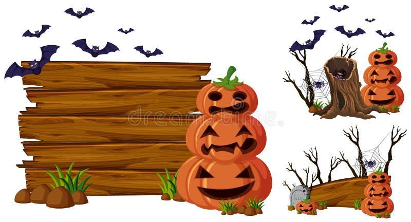 Placa de madeira e jaque-o-lanterna ilustração stock
