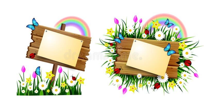 Placa de madeira em um empréstimo ilustração royalty free