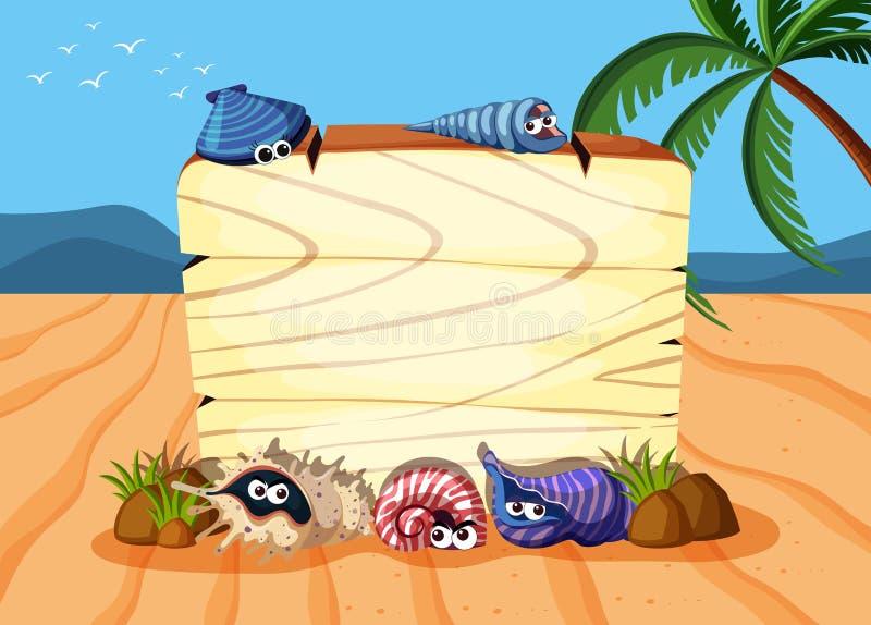 Placa de madeira na areia ilustração stock