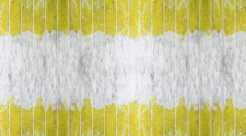 Placa de madeira, parede de madeira pintada amarela e branca da cor de tom dois como o fundo ou a textura, teste padrão natural E imagens de stock royalty free