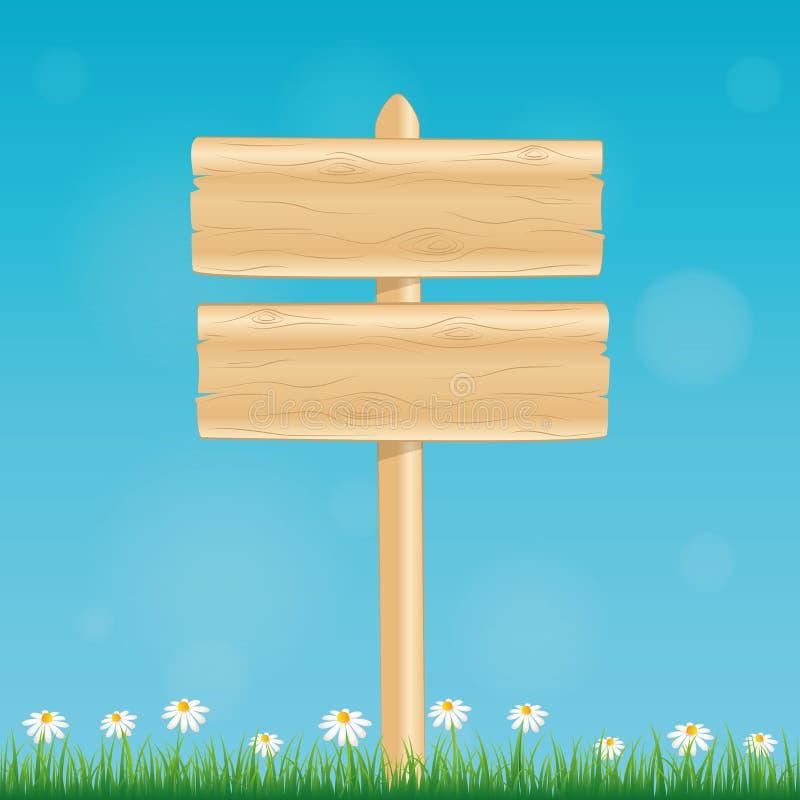 Placa de madeira vazia do sinal com flor e grama da margarida no fundo azul ilustração royalty free