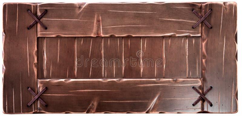 Placa de madeira velha decorativa isolada no fundo branco fotografia de stock royalty free