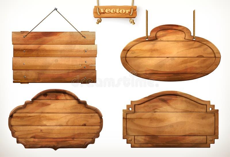 A placa de madeira, vetor de madeira velho ajustou-se ilustração stock